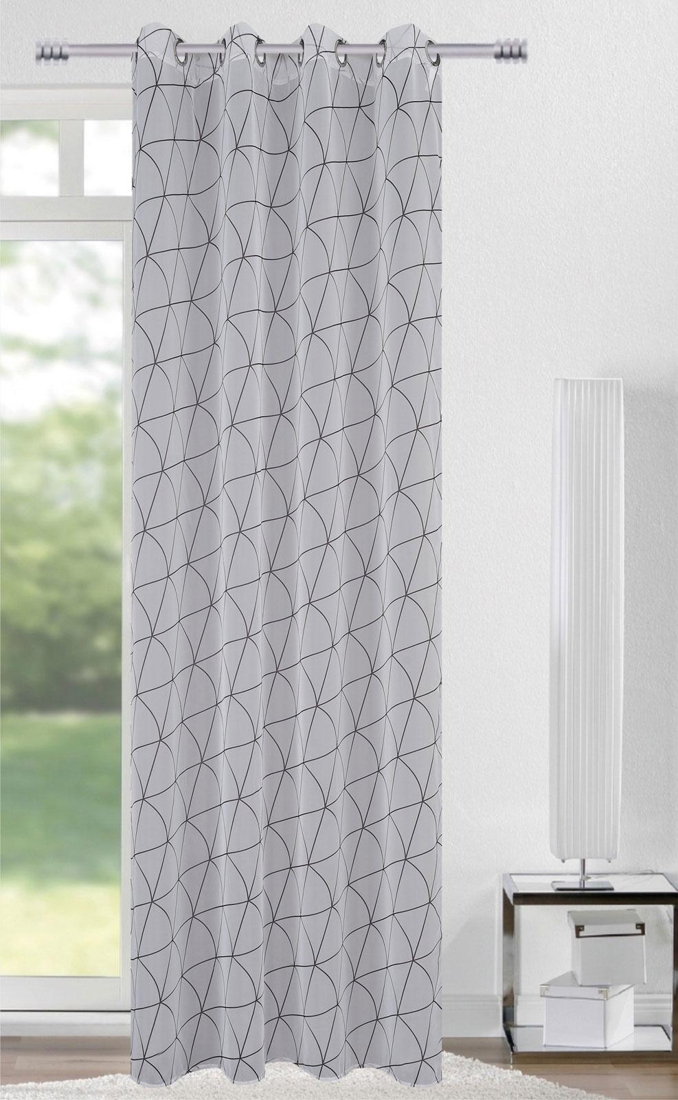 Gardinen und Vorhänge - Ösenschal Vorhang Gardine 140x245 mit Metallösen Triangel 400240  - Onlineshop PremiumShop321