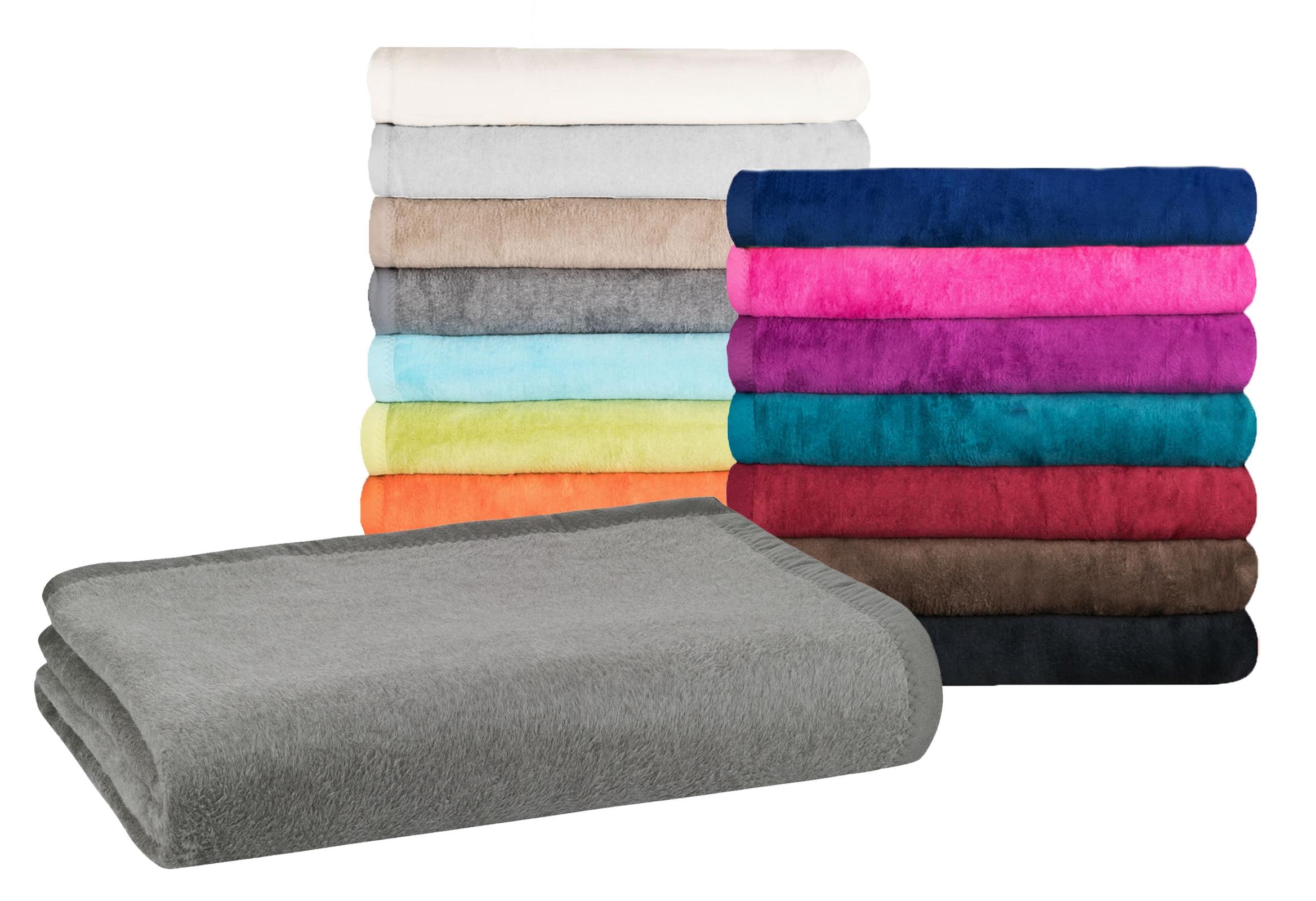 Wohndecken und Kissen - MOON Classic Kuscheldecke Übergröße 220x240 cm Wolldecke einfarbig, pflegeleichte Baumwollmischung  - Onlineshop PremiumShop321