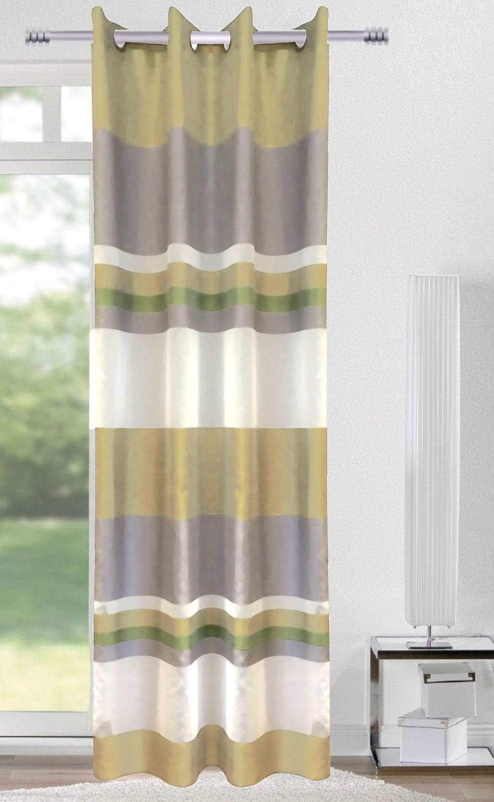 Gardinen und Vorhänge - Ösenschal Vorhang Gardine 140x245 Stripes grün oliv grau 400585  - Onlineshop PremiumShop321