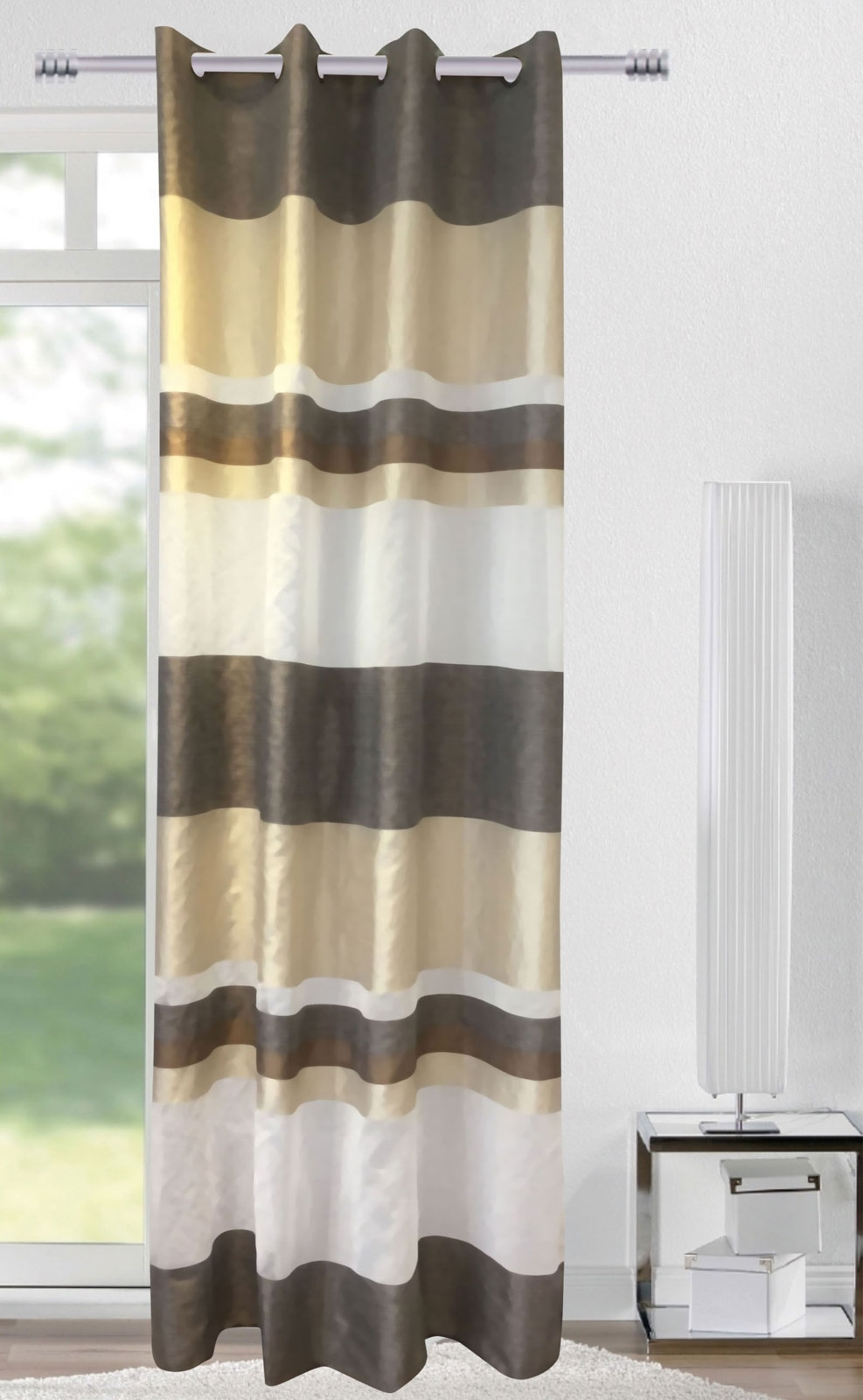 Gardinen und Vorhänge - Ösenschal Vorhang Gardine 140x245 Stripes braun beige weiß 400288  - Onlineshop PremiumShop321